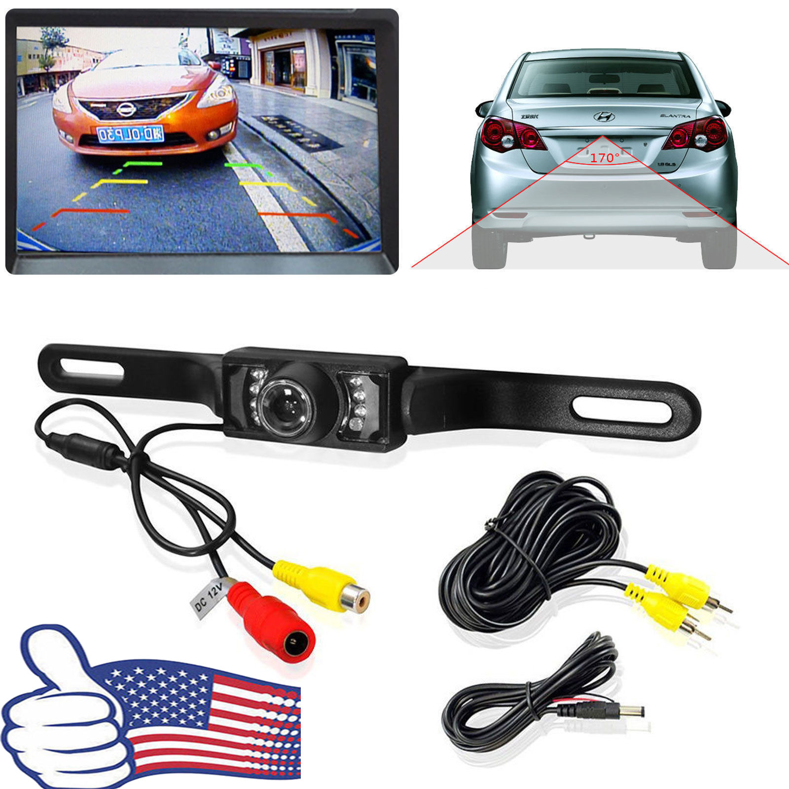 Mouldings & Trim Consumer Electronics 170° Hd Waterproof Car Rear View Camera Parking Reverse Backup Night Vision 12v