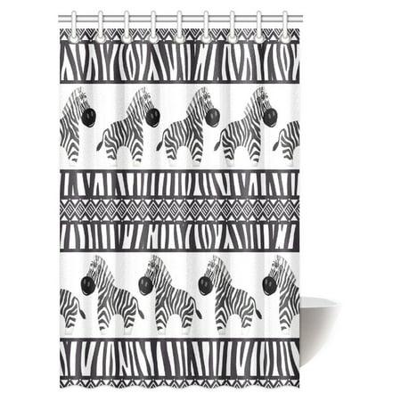 MYPOP Zebra Print Decor Shower Curtain, Cute African Animal Zebra and Zebra Skin Fashionable Trendy Decorating Bathroom Set with Hooks, 48 X 72 Inches ()