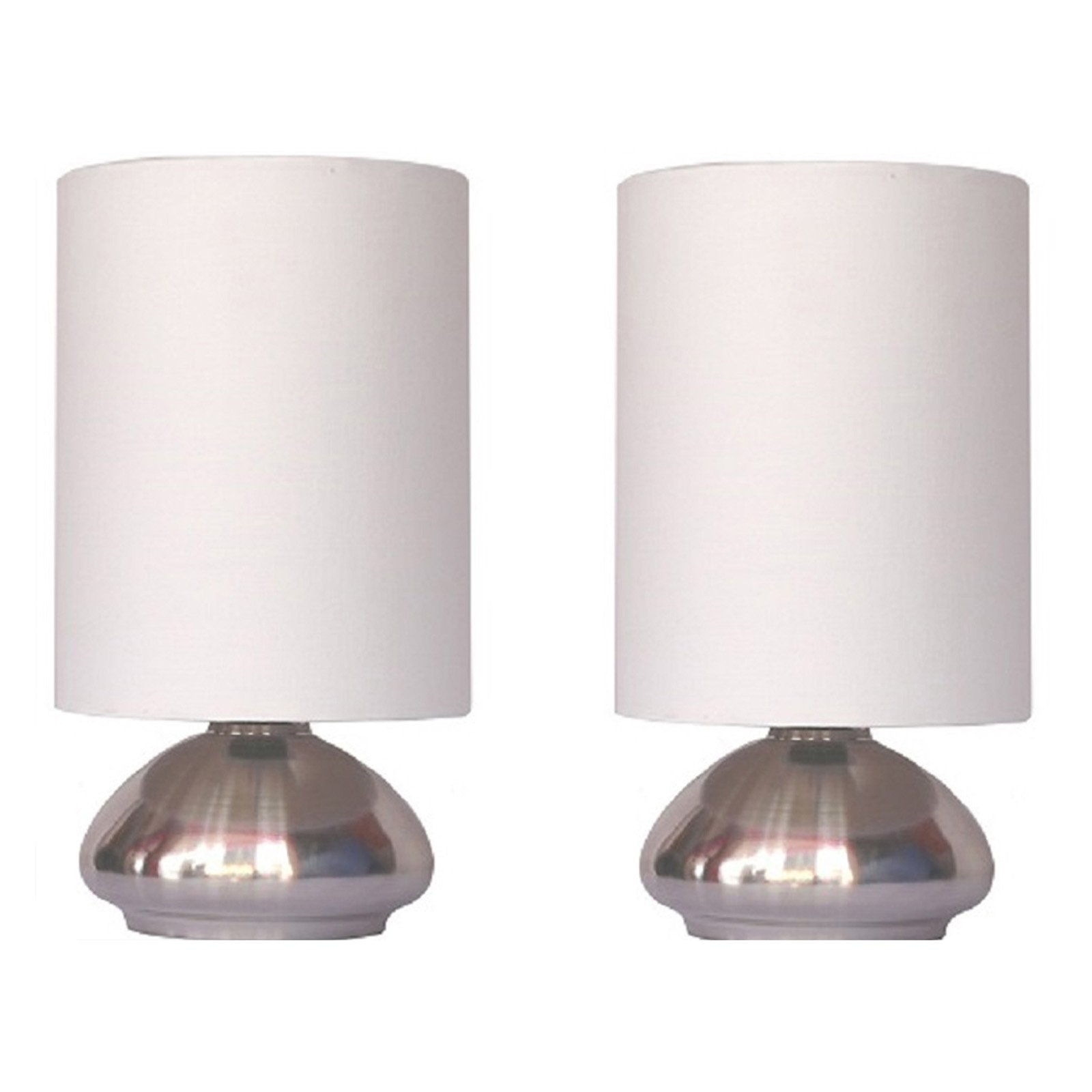 Simple Designs Gemini Mini Touch Table Lamp Set With Fabric Shades