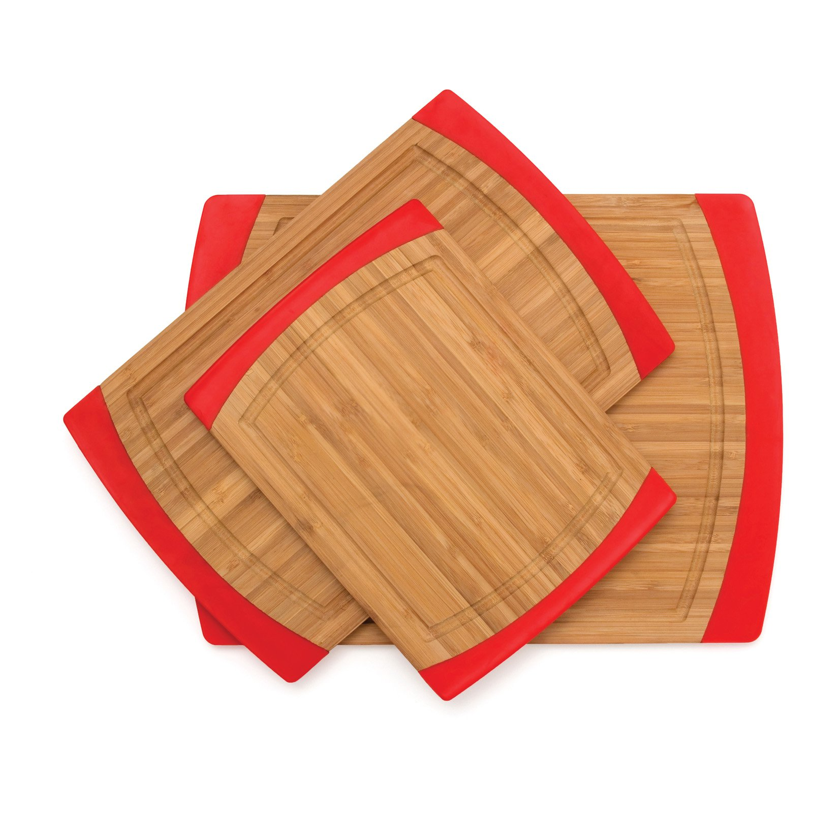 Large Bamboo and Silicone Cutting Board in Red