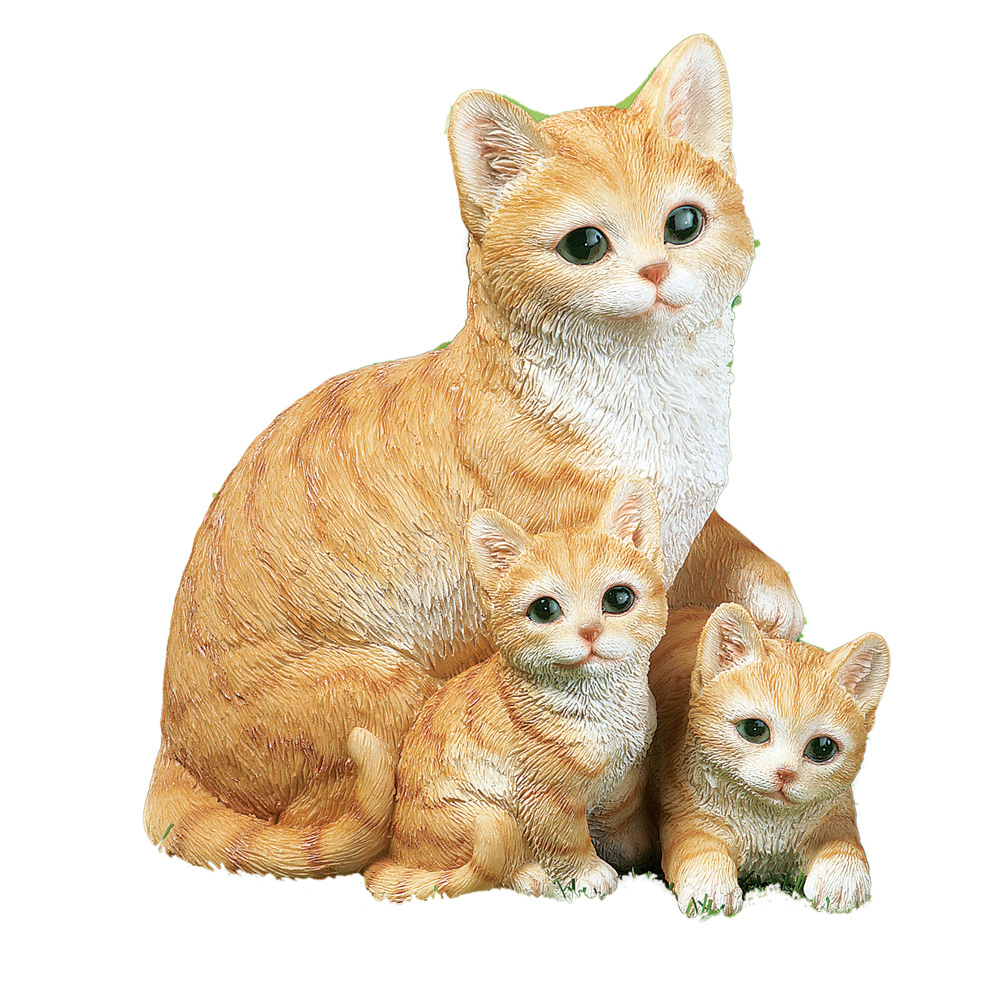 Mama Cat And Kittens Cute Garden Statue, Grey by Collections Etc