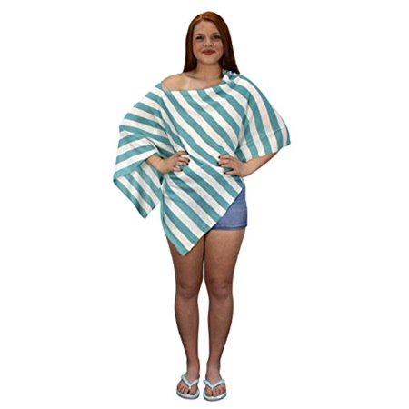 Peach Couture Womens Summer Fashion Light weight Striped Poncho Shrug Cover Up (Couture Covers)