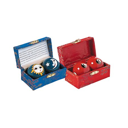 Chinese Health Balls   Two Sets  4 Balls  Stress Relief Boading Balls With Mesmerizing Chimes   Cloisonne Yin Yang Stress And Sun Moon Exercise Balls 2 Pair Set W Storage Case   Perfect Gift