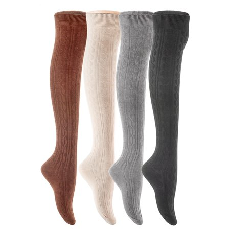 Lovely Annie Women's 4 Pairs Over Knee High Cotton Socks JMYP1024 Size 6-9 Style 04 (Black,Coffee,Dark Grey, - Blue And White Knee High Socks