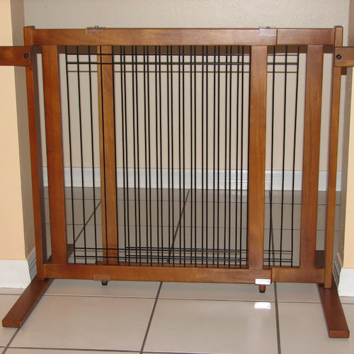Crown Pet Free-Standing Tall Height Wood Pet Gate with Security Arms