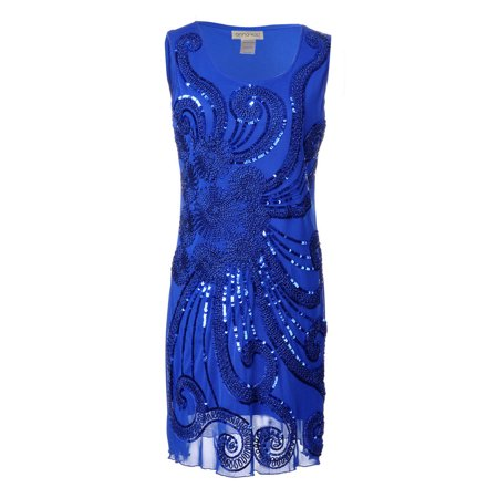 Womens Fashion Floral 1920s Flapper Beaded Sequin Sleeveless Mini Party Dress (1920s Fashion For Plus Size)