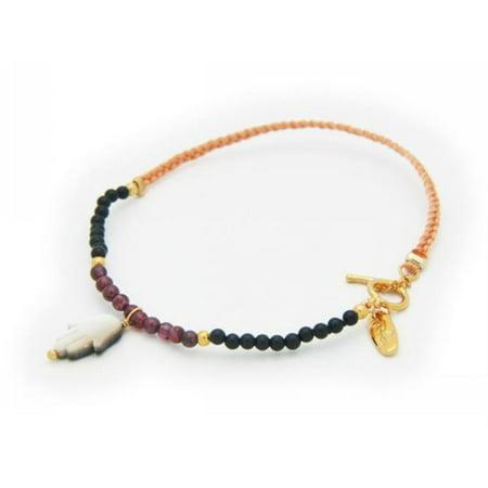 Silver Gold Plated Cord Mini Garnets & Onyx Beads,Grey MOP Hamsa Bracelet - image 1 of 1