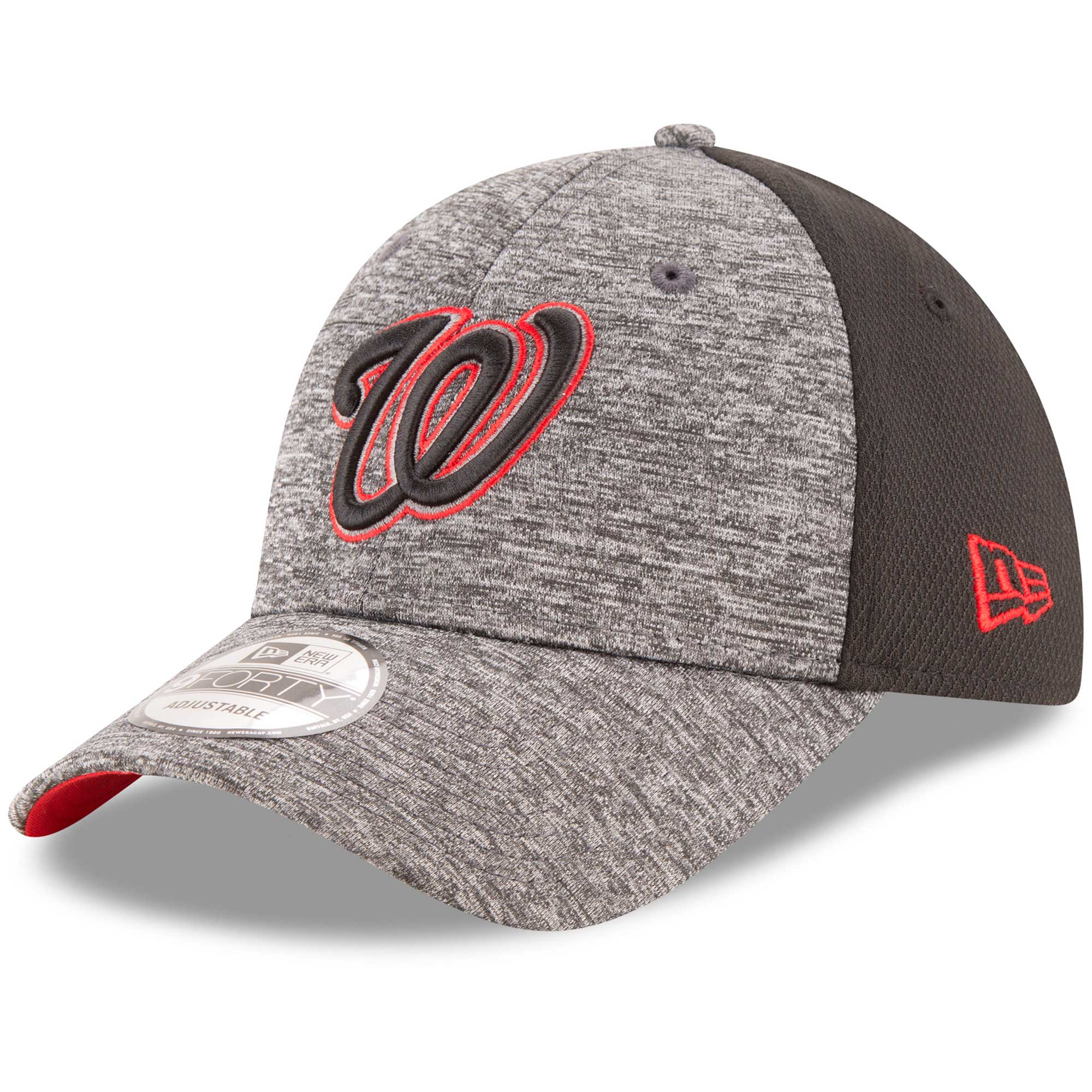 Washington Nationals New Era Shadowed Team Logo 9FORTY Adjustable Hat - Heathered Gray/Black - OSFA