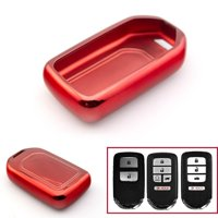 Xotic Tech Glossy Red Soft TPU Case Remote Smart Key Fob Cover Holder for Honda Accord Civic Pilot CRV HRV Odyssey