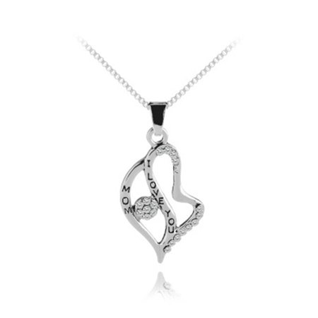 AkoaDa I Love You To the Moon Silver Necklace Mom Dad Daughter Son Grandma Grandpa Family Choker Pendant Necklace