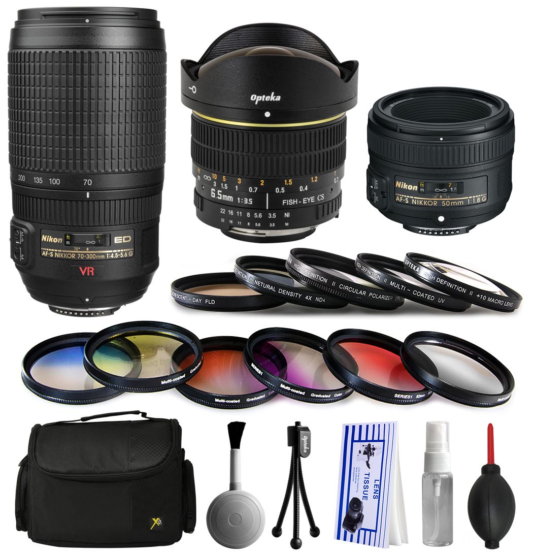 Nikon VR 70-300mm Lens + 50mm f/1.8G + 6.5mm f/3.5 Fisheye Lens Bundle Package + Filters & Accessories for Nikon DF D7200 D7100 D7000 D5500 D5300 D5200 D5100 D5000 D3300 D3200 D3100 D3000 D300S D90