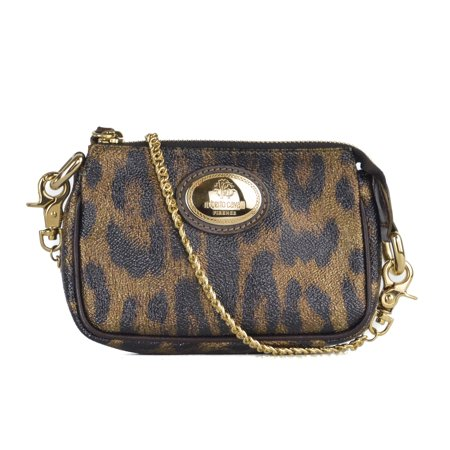 Roberto Cavalli Metallic Cheetah Print Leather Zip Top Mini Wristlet