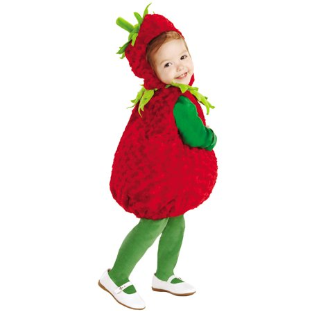 Strawberry Girls Child Fuzzy Fruit One Piece Halloween -