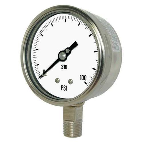 PIC GAUGES 4001-4LA Vacuum Gauge, Heavy Duty, 4 In., 30-0 HgVac
