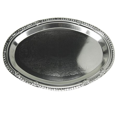 Embossed Oval Chrome Serving Plate,