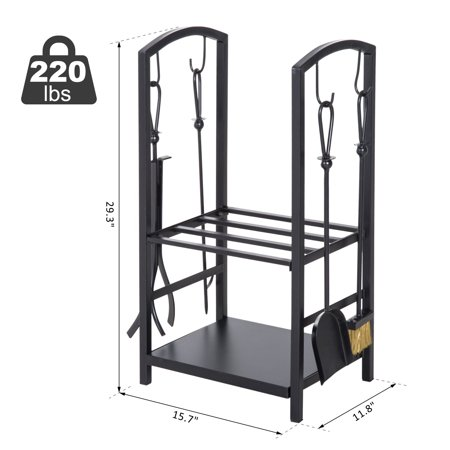 Heavy Duty Firewood Rack with 4 Tools Black - image 1 of 7