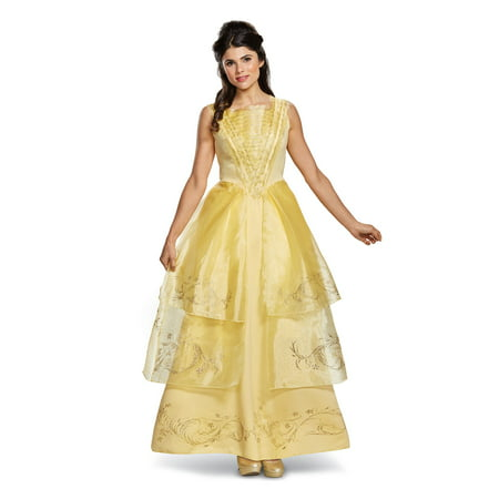 Women's Belle Ball Gown Deluxe Costume - Beauty & The Beast Live (Women's Yellow M&m Costume)