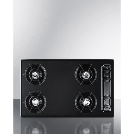 Summit TNL05P 30 Inch Wide Gas Cooktop With Battery Ignition In Black ()