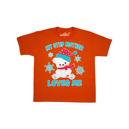 Polar Bear My Step Mother Loves Me in Santa Hat Youth T-Shirt