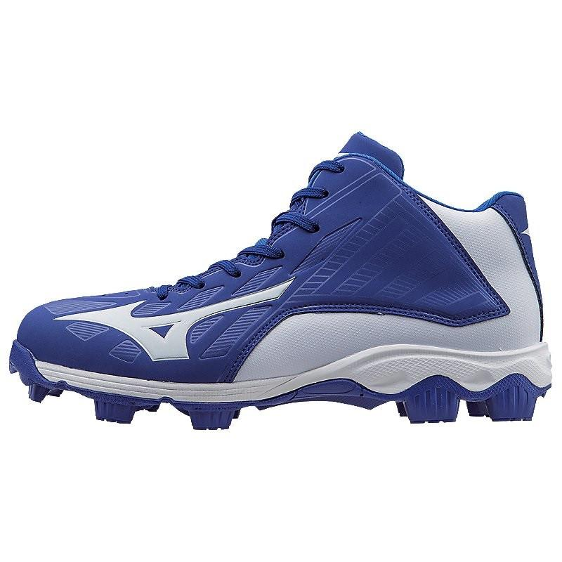 Mizuno 9-Spike Advanced Youth Franchise 8 Molded Baseball Cleat Mid Royal White 5 by Mizuno