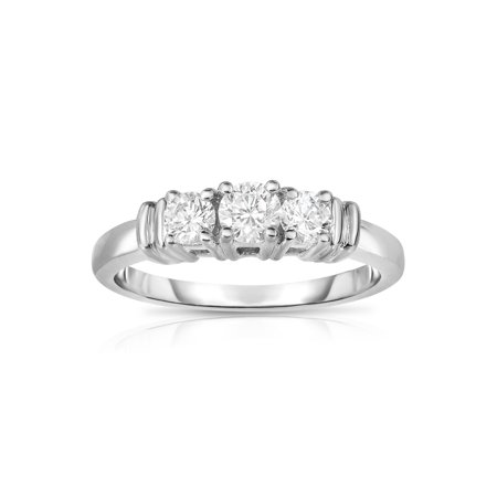 14K White Gold 3-Stone Diamond (0.50 Ct, G-H Color, SI2 Clarity) Engagement Ring (Si2 Clarity Diamonds)