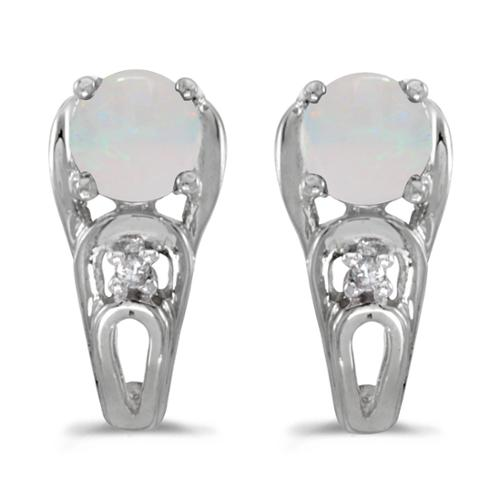 14k White Gold Round Opal And Diamond Earrings