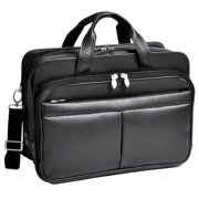 "McKlein, R Series, WALTON, Top Grain Cowhide Leather, 17"" Leather Expandable Double Compartment Laptop Briefcase w/ Removable Sleeve"