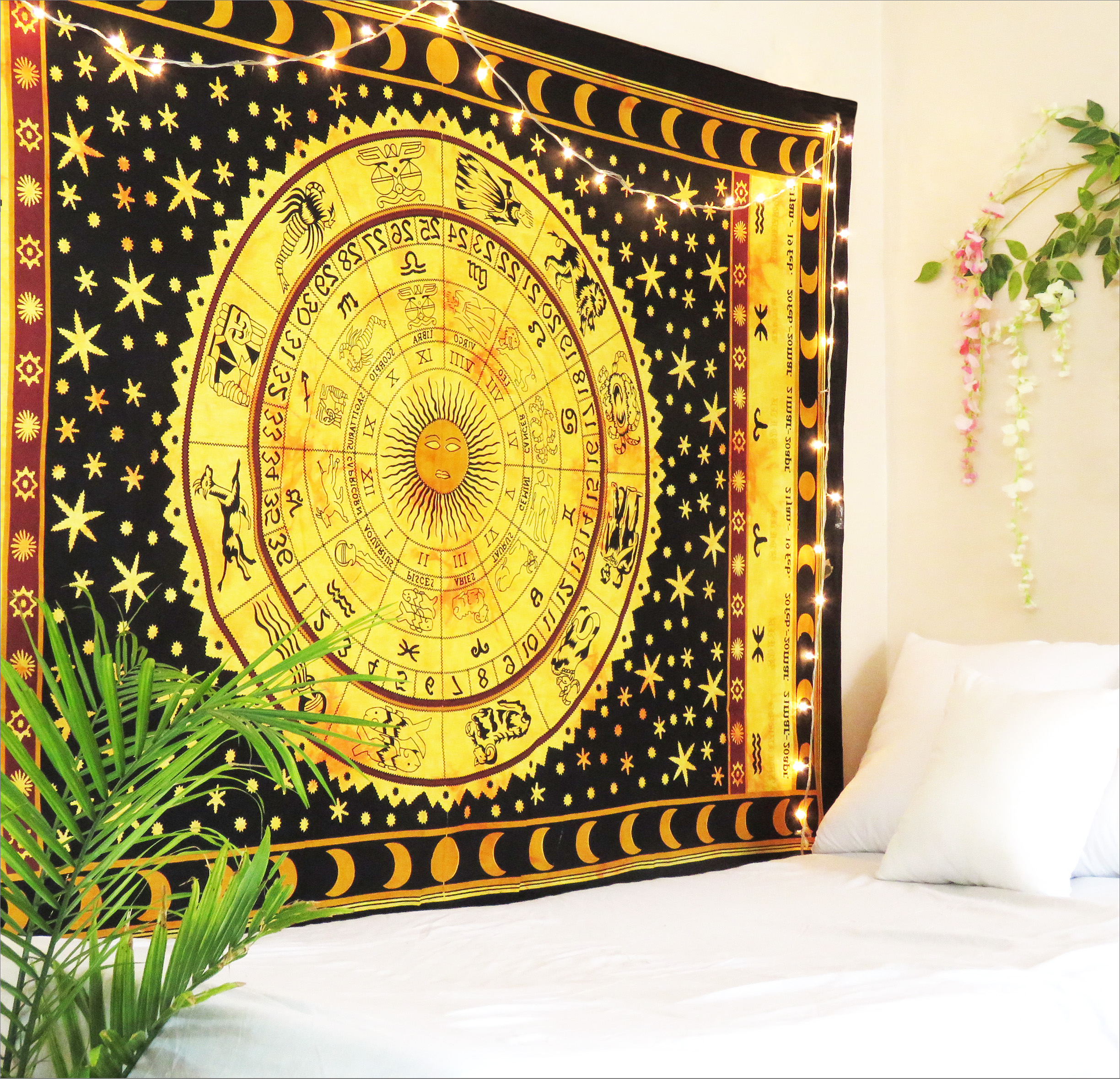 Black and White Horoscope Tapestry Zodiac Wall Hanging Dorm Room Tapestries Twin Size Yoga Mat Meditation Throw Blanket... by Oussum