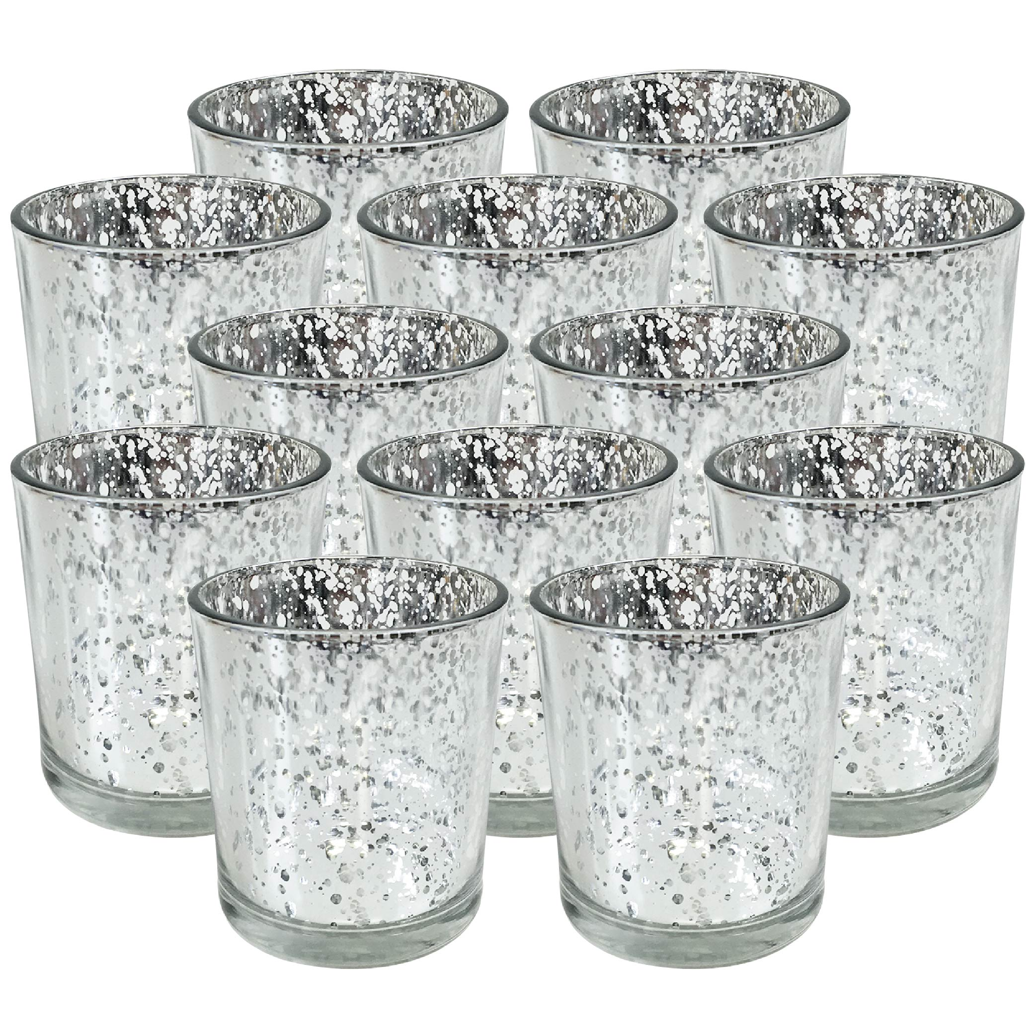 """Just Artifacts Mercury Glass Votive Candle Holder 3""""H (Set of 12, 3""""H, Speckled Silver) -Mercury Glass Votive Tealight Candle Holders for Weddings, Parties and Home Decor"""