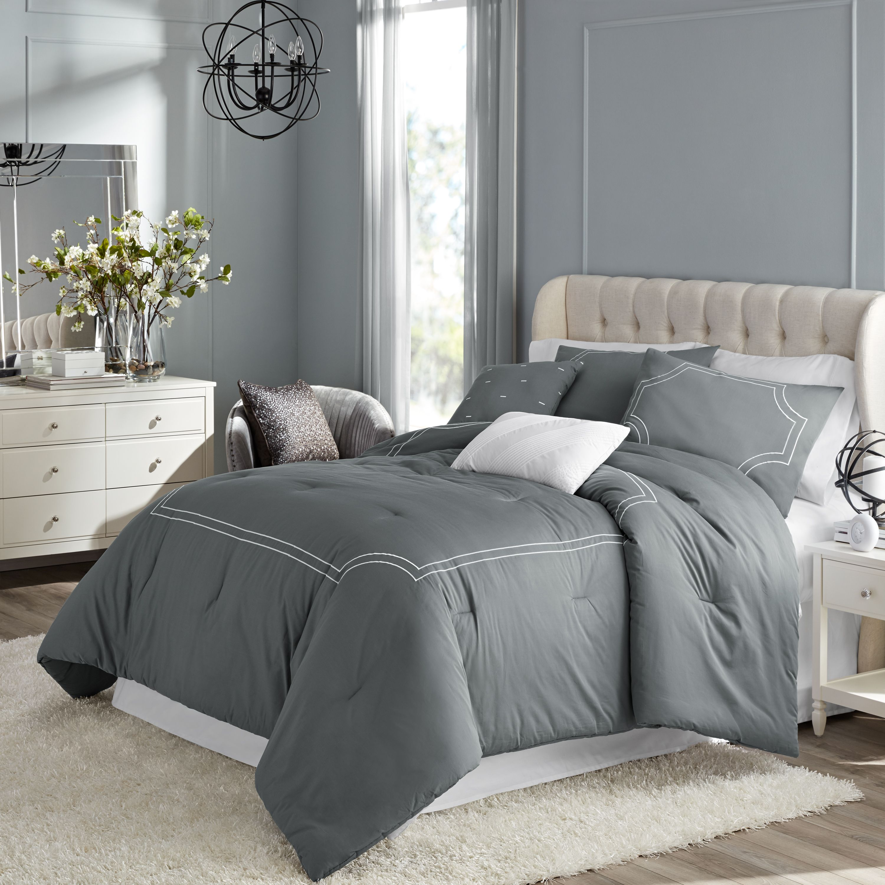 Hotel Style Florence Embroidered Duvet Cover Set, 3 Pieces