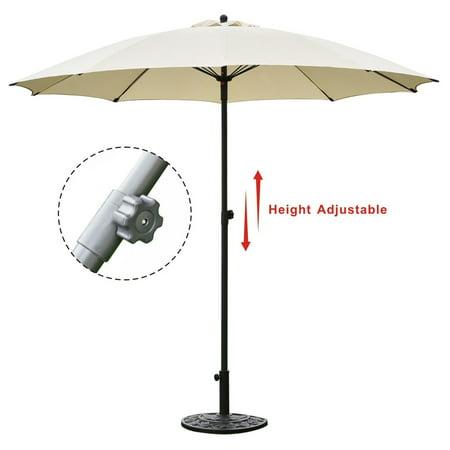 Goplus 8.2Ft Height Adjustable Outdoor Patio Umbrella Market Sun Shade Beech beige ()