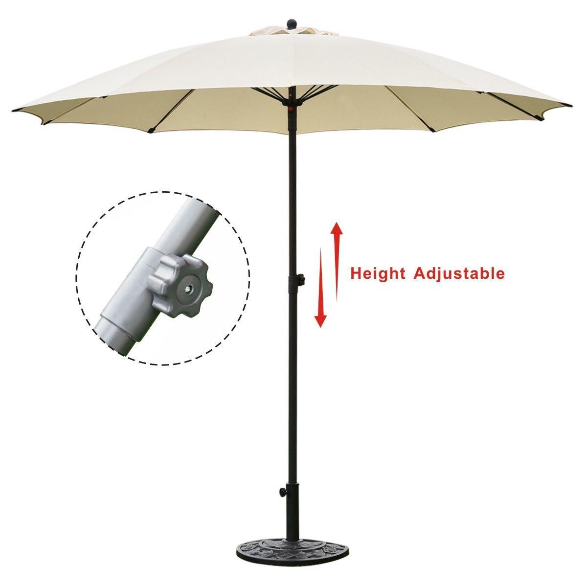 Goplus 8.2Ft Height Adjustable Outdoor Patio Umbrella Market Sun Shade Beech beige