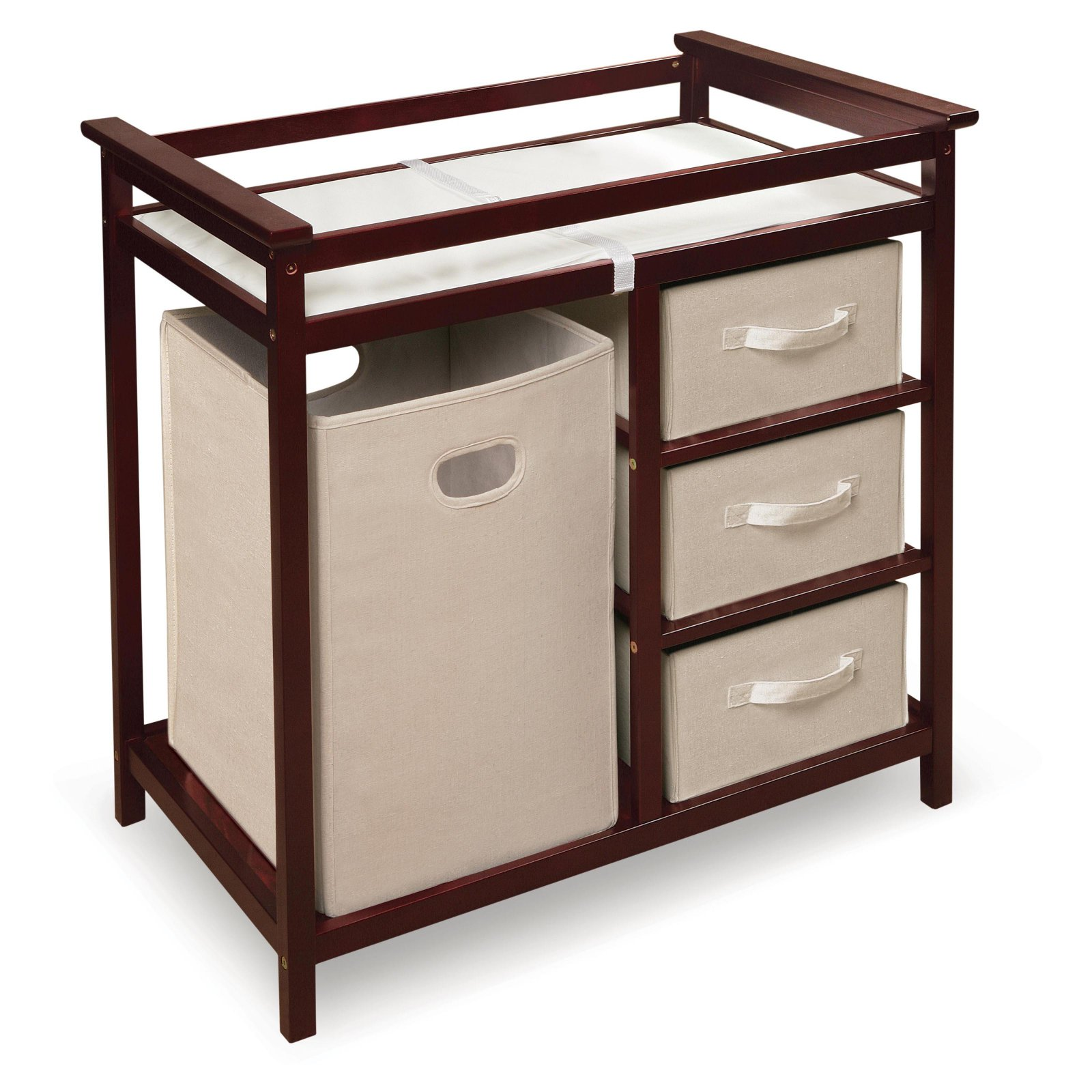 Badger Basket Modern Changing Table with 3 Baskets and Hamper, Choose Your Finish