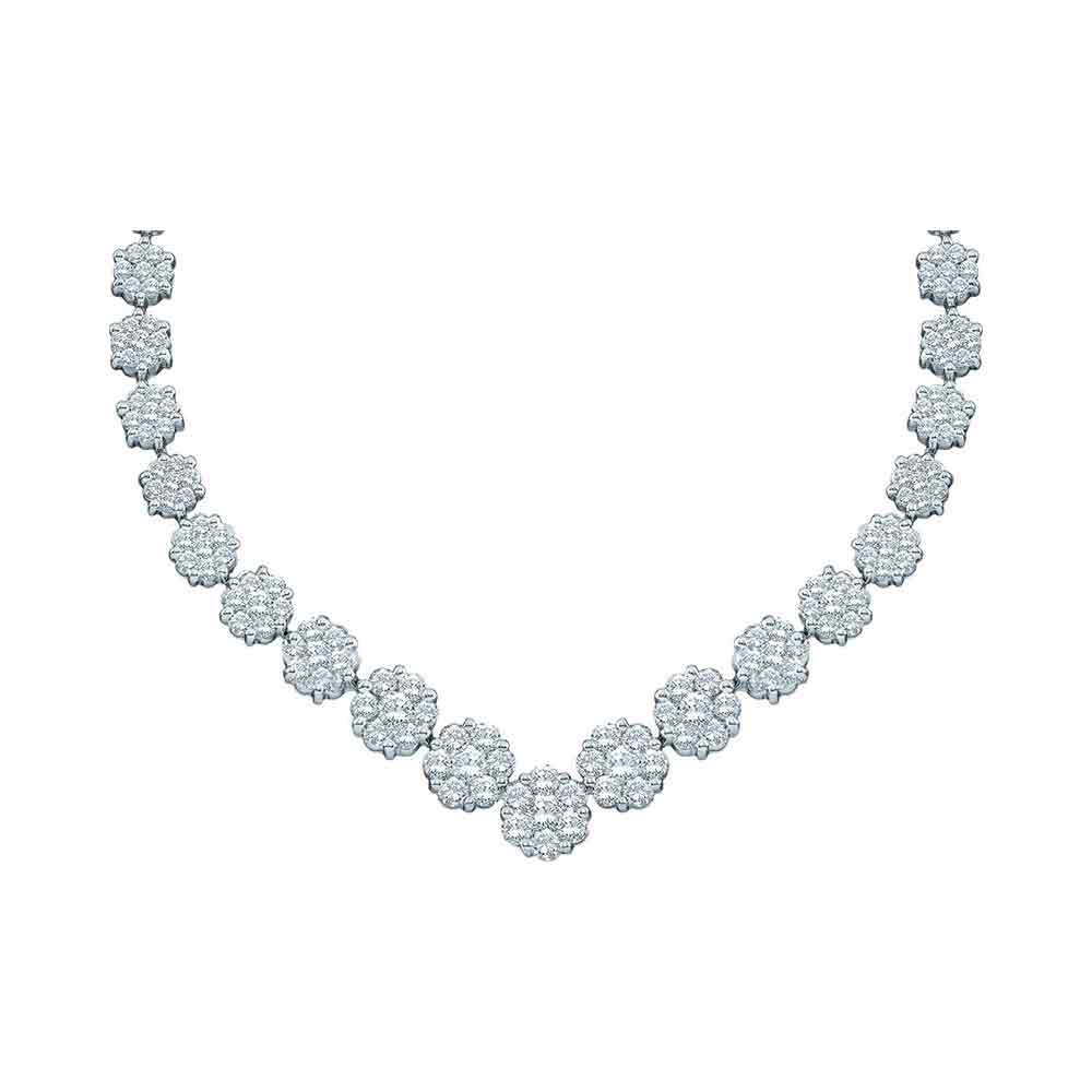 14kt White Gold Womens Round Diamond Cluster V-Shape Luxury Necklace 5.00 Cttw by