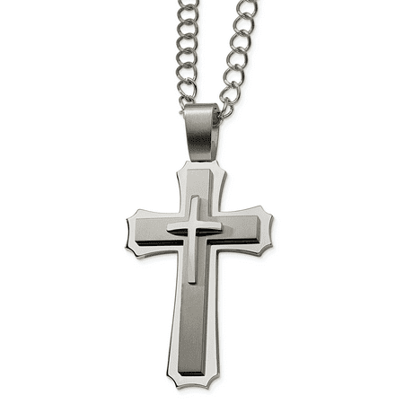 Stainless Steel Cross Religious Pendant 24 Inch Chain Necklace Charm Fancy Man Crucifix Fashion Jewelry Gift For Dad Mens For Him - image 7 of 7
