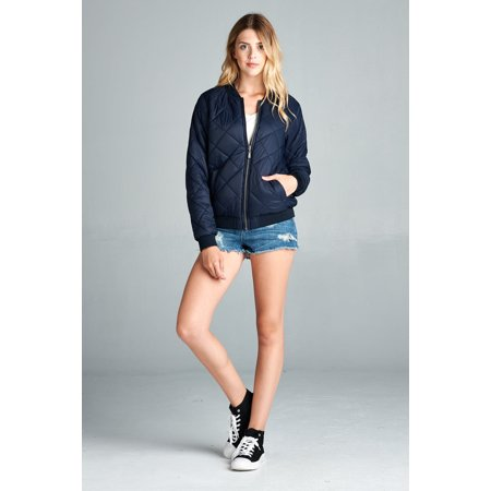 Cali Chic Juniors Jacket Quilted Padded Bomber Jacket Navy