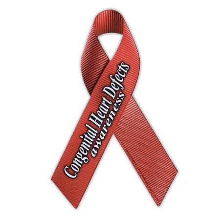 Heart Awareness Ribbon (Magnetic Bumper Sticker - Congenital Heart Defects Support Ribbon - Awareness Magnet - 4.25
