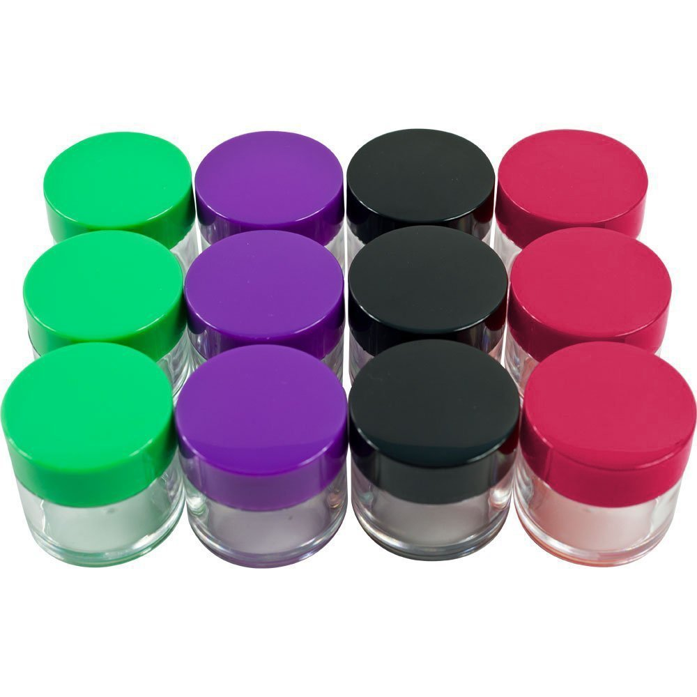 Houseables 20 Gram Jar, 20 ML Jar, 24 pcs, BPA Free, Cosmetic Sample Empty Container, Plastic, Round Pot Screw Cap Lid, Small Tiny 20g Bottle, for Make Up, Eye Shadow, Nails, Powder, Gems, Beads
