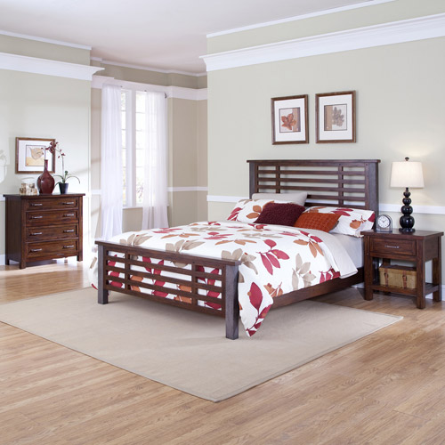 Home Styles Cabin Creek King Bed, Night Stand and Chest, Chestnut