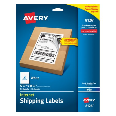 "Avery TrueBlock Shipping Labels, 5-1/2"" x 8-1/2"", 50 Labels (8126)"
