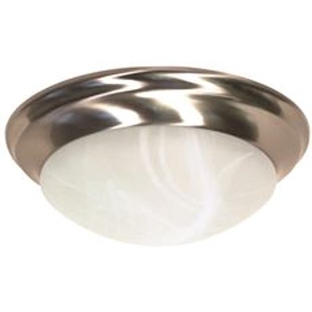 Flush Mount Two-Light Ceiling Fixture With Alabaster Twist-Lock Glass, 14 In., Brushed Nickel