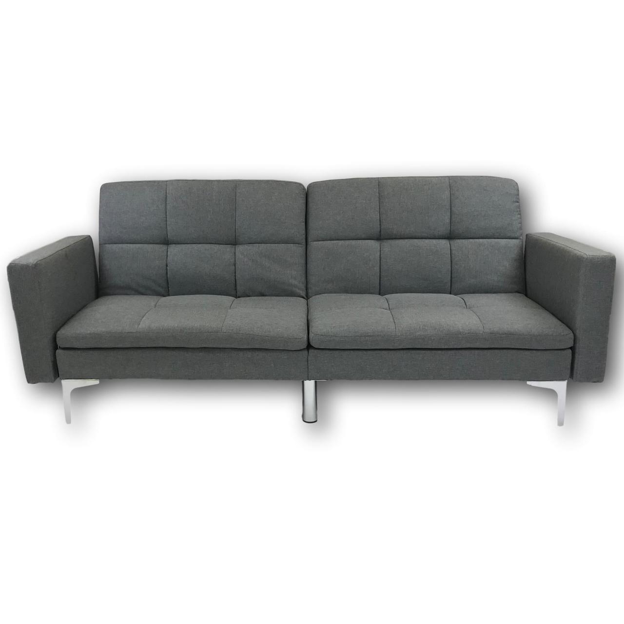 Viscologic Clarke Split Back Convertible Futon Sofa Bed Lounger Love Seat Grey