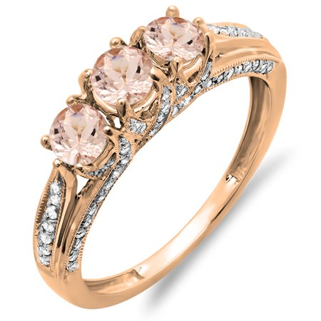 Dazzlingrock Collection 14K Round Morganite & White Diamond Ladies Vintage 3 Stone Engagement Ring, Rose Gold, Size (Vintage 3 Stone Round Pave)