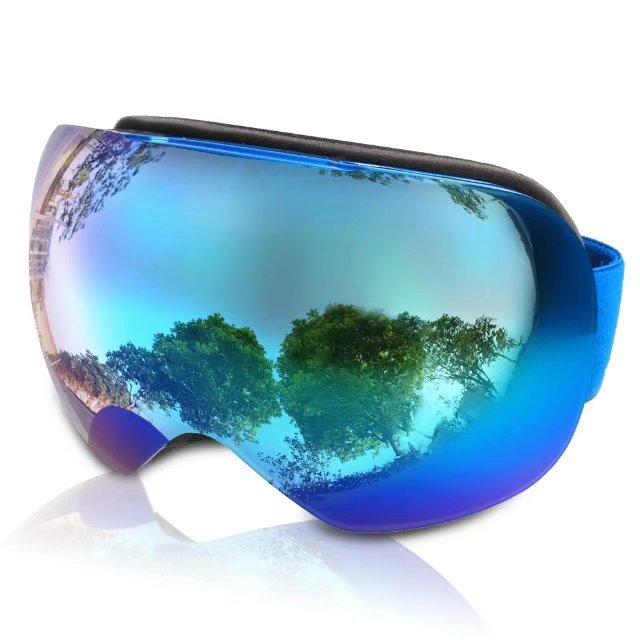 Ski Goggles, SunbaYouth Frameless Snowboard Goggles, Unisex Snowmobile Goggles Anti-fog UV Protection Spherical Lens by