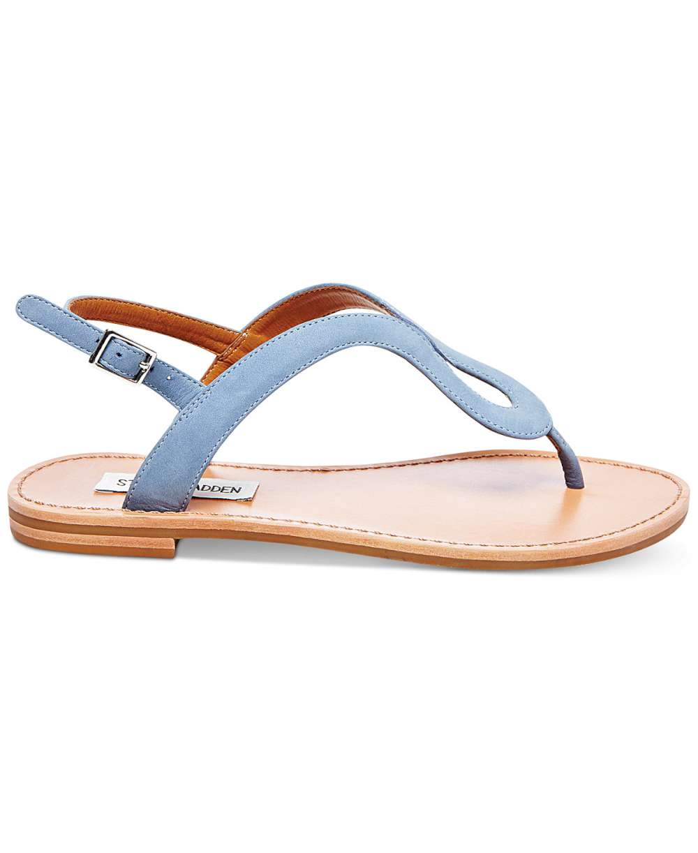 Steve Madden Womens Takeaway Leather Open Toe Casual Flat Sandals