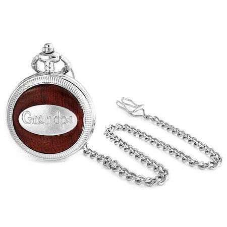 Antique Style Grandpa Grandfather Mens Pocket Watch Rhodium Plated