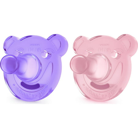 Philips Avent Soothie Pacifier, 3+ months, Pink/Purple, Bear Shape, 2 pack, SCF194/05