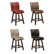 A Line Furniture Montgomery Sleek Sculpted Upholstered Counter Height Swivel Dining Stools (Set of 2)