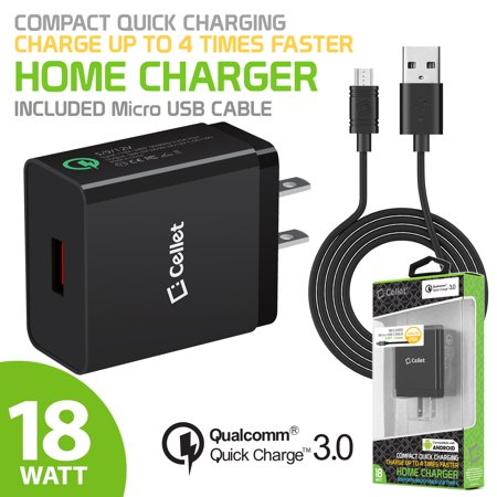 Cellet 18 Watt Usb Wall Charger With Qualcomm Certified Quick Charge 3 0 Technology  3 3 Ft  Micro Usb Cable Included
