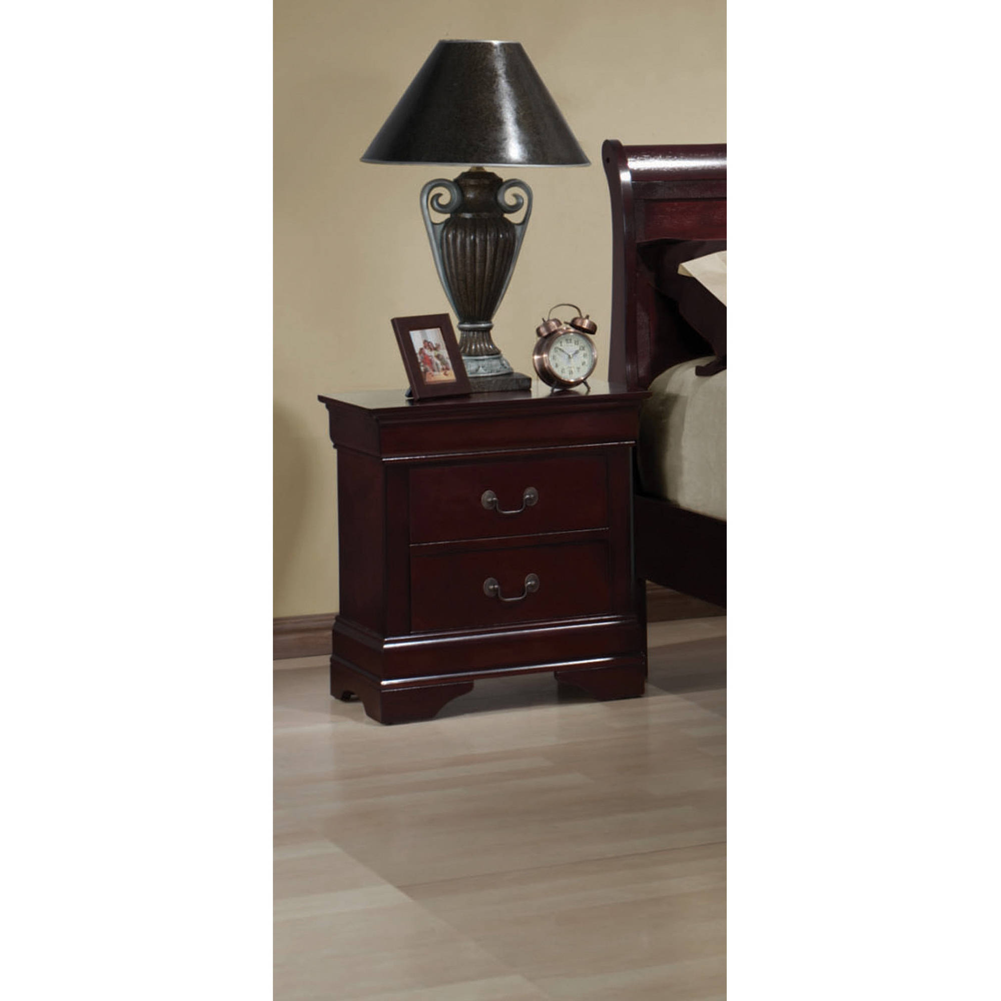 Coaster Louis Philippe Two Drawer Nightstand in Rich Cherry by Coaster Company